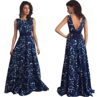 Sexy Women Floral Long Formal Prom Dress Party Ball Gown Evening Wedding Dress - intl