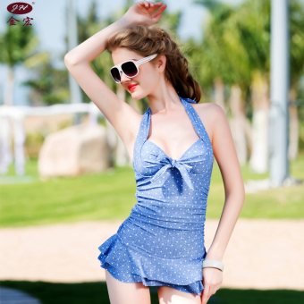 Sexy women one-piece Skirt Style swimsuit swimming clothes (5602 cowboy blue)