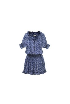 Sexy Women Paisley Print V neck Hippie Sundress Short Dress Blue