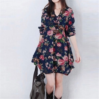 Sexy Womens Floral Linen Long Sleeve V-Neck Cute Party Mini Dress Dark Blue