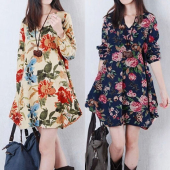 Sexy Womens Floral Linen Long Sleeve V-Neck Cute Party Mini Dress Dark Blue - 4