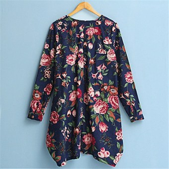 Sexy Womens Floral Linen Long Sleeve V-Neck Cute Party Mini Dress Dark Blue - 3