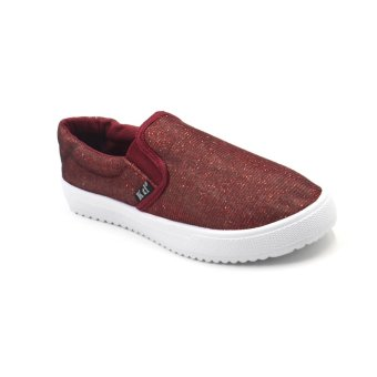 Shaine 2016-7 Low Cut High Quality Sneakers Slip On Women's RubberShoes (maroon)