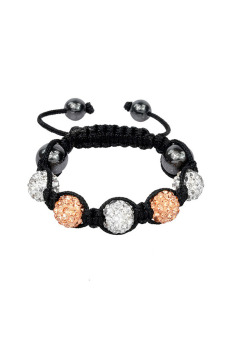 Shamballa Bracelet Adjustable Beads Bracelet (Champagne and White) - picture 2