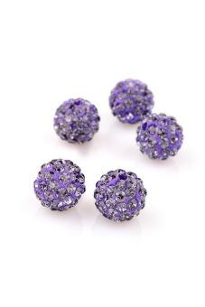 Shamballa Crystal Beads Bracelet Set of 5 (Dark Violet) - picture 2