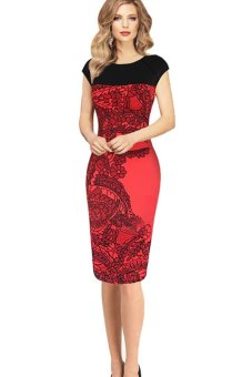 Sheath Fitted Business Shirt Dress 41 (Red )
