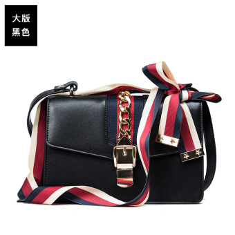 SHININGSTAR ribbon celebrity inspired spring and summer female women's bag New style messenger bag (Black large version)