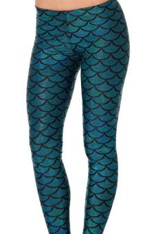 Shinning Metallic Mermaid Scales Pattern Legging (Blue) - 2