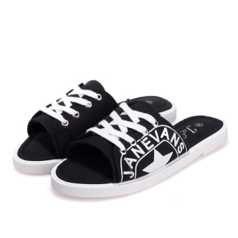 Shishang canvas female New style slippers (Black)