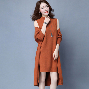 Shishang female knit cardigan (Orange)