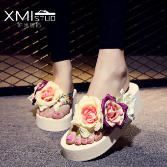 Shishang female non-slip high-heeled flip-flops cute sandals and slippers (XM high cotton rose three flower beige)