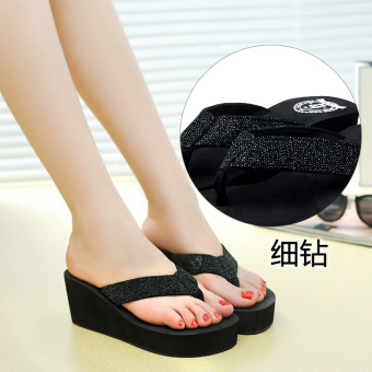 Shishang female outerwear flip-flops New style sandals and slippers shoes (Fine diamond black)