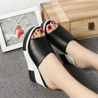 Shishang female outerwear New style slanted heel slippers sandals (Black)