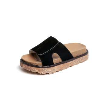 Shishang female student outerwear slippers thick bottomed sandals and slippers shoes (Black (suede))