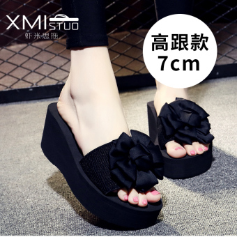 Shishang flat A-line slippers handmade slippers (7199W high-heeled sandals black Big Flower flower)