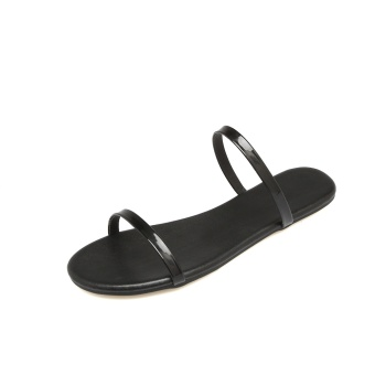 Shishang flat A-line with slippers flat heel sandals shoes (Black)