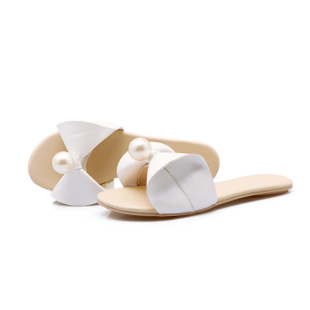 Shishang flat heel Cooljie student slippers sandals (White)