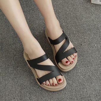 Shishang flat heel sandals (Black)