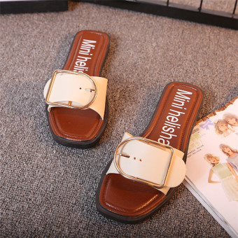 Shishang flat metal buckle home slippers sandals (White)
