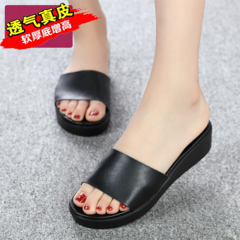 Shishang leather female flat women's slippers thick bottomed sandals and slippers shoes (Black 1)
