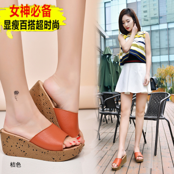 Shishang leather summer muffin thick bottomed sandals and slippers shoes (Orange)