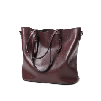 Shishang New style shoulder bag big bag (Deep red)