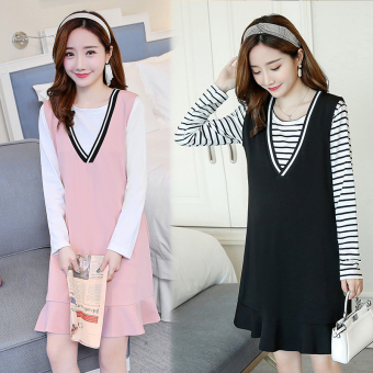 Shishang postpartum long-sleeved nursing dress pregnant women's shoulder strap dress (Pink + white nursing T-shirt)