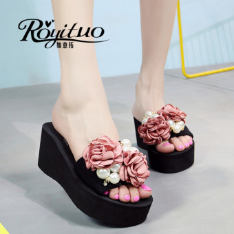 Shishang slip Pearl flowers sandals (9028D A-line high-heeled double rose Pearl flowers pink)