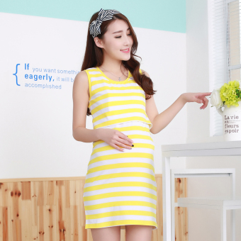 Shishang summer medium-length nursing dress Korean-style pregnant women dress (Yellow white striped)