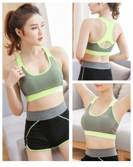 Shock-resistant running vest with a chest Pad fitness underwear I bra (Flourescent green)