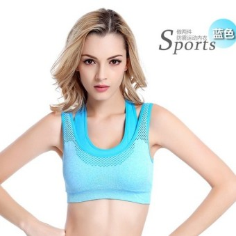 Shock-resistant yoga fitness running push up underwear I bra (Day blue)