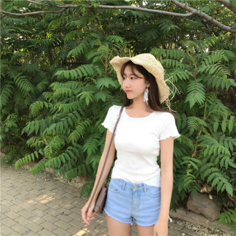 Short sleeved female Slim fit frilled solid Top Korean-style T-shirt (White)