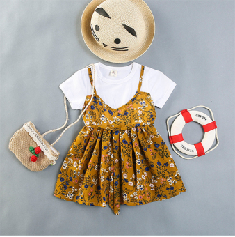 Short sleeved New style girls Suihua strap princess dress Baobao dress (Ginger yellow)
