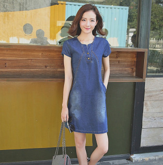 Short sleeved summer female New style dress cowboy dress (Dark blue color) (Dark blue color)