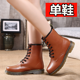 Short Tube lace warm boots leather Women's boots (658 Brown (single shoes))