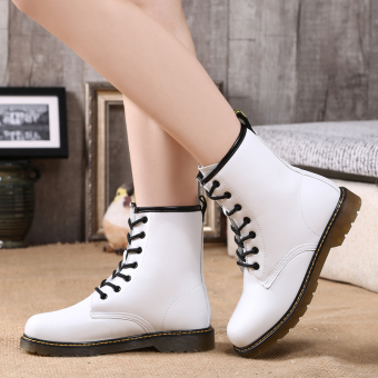 Short Tube lace warm boots leather Women's boots (658 white (single shoes))