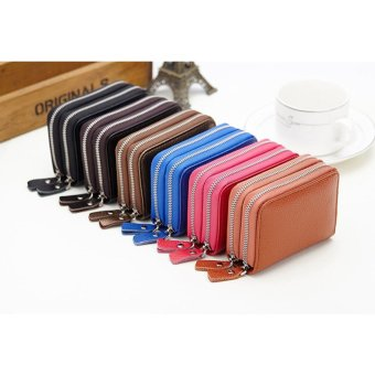 Short Wallet Genuine Leather RFID Blocking Safe Card Holder Forwomen - intl