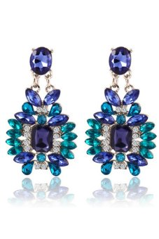 Silver Plated Colorful Crystal Dangle Earrings (Blue)
