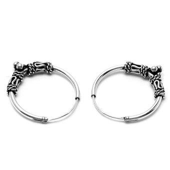 Silverworks E4977 Bali Hoop with Oxidized Earrings (Silver) - 2