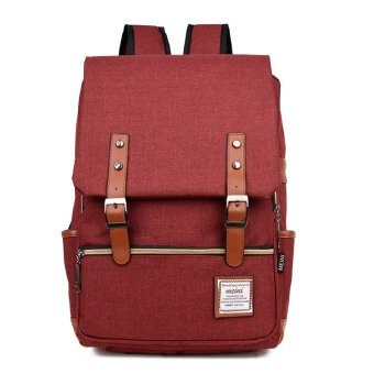Simple Buckle Canvas Oxford Backpack Casual Women Men Travel Back Pack Rucksack for Men School Bag for Teenagers Boy Laptop - intl