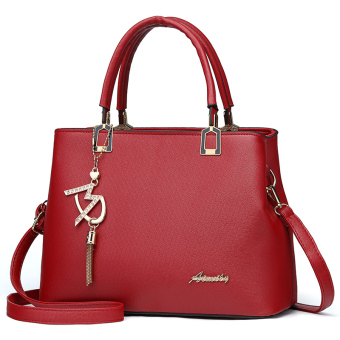 Simple female women's bag Korean-style Portable Bag (Wine red color) (Wine red color)