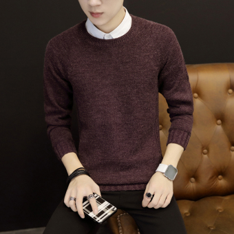 Simple knit solid color men sweater thin section sweater (Wine red color)
