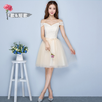 Sisters Korean-style female New style short evening dress bridesmaid dress (Champagne short F models 968)