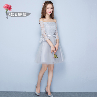 Sisters Korean-style female New style short evening dress bridesmaid dress (Gray short B Section 968)