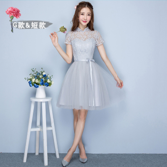 Sisters Korean-style female New style short evening dress bridesmaid dress (Gray short G models 968)