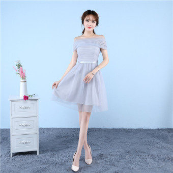 Sisters Korean-style slimming graduation evening dress bridesmaid dress (D gray A-line shoulder)