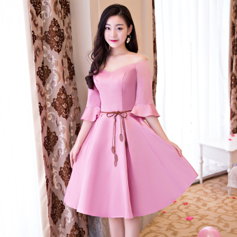 Sisters Slim fit slimming graduation evening dress bridesmaid dress (C models pink 522) (C models pink 522)