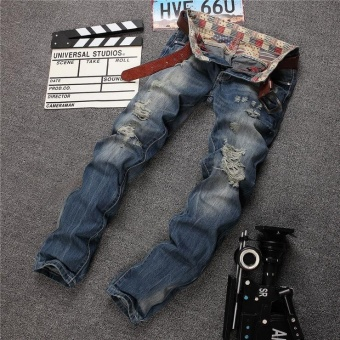 Size 28-38 NEW denim ripped jeans for men skinny Distressed slim designer biker hip hop hole jeans male Straight- Blue Gray - intl