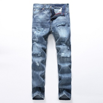 Size 28-38 NEW denim ripped jeans for men skinny Distressed slim designer biker hip hop hole jeans male Straight- Light Blue - intl - 2