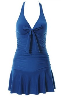 Size for Women steel prop gather sexy skirt swimming clothing piece swimsuit (Sapphire blue color)